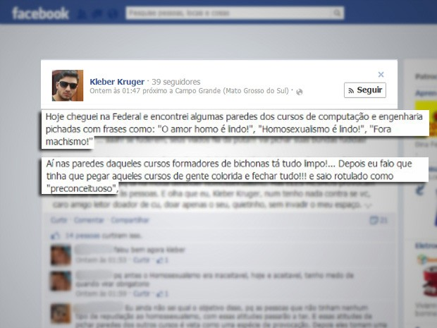 Professor fez postagens incomodado com pixações a favor da homossexualidade (Foto: Reprodução/Facebook)