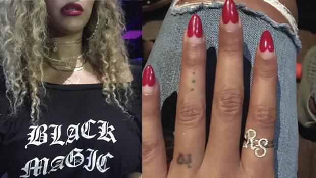 Beyoncé e os aneis com as iniciais dos gêmeos, Rumi e Sir (Foto: reprodução/instagram)
