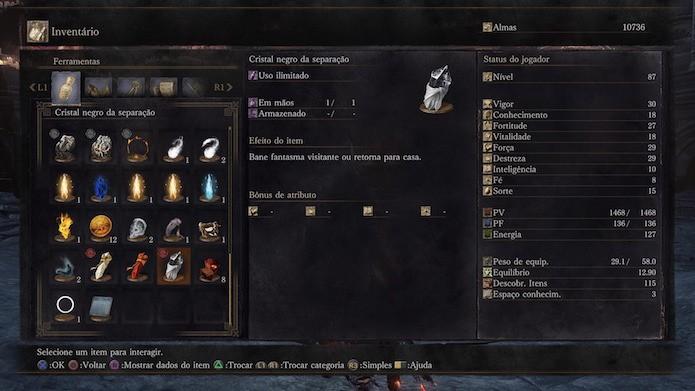 Dark Souls 3: Cristal negro da separação desfaz partidas cooperativas (Foto: Reprodução/Victor Teixeira)