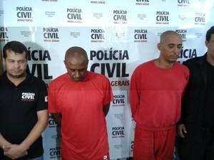 Suspeitos apresentados pela Polícia Civil (Foto: Alex Rocha/G1)