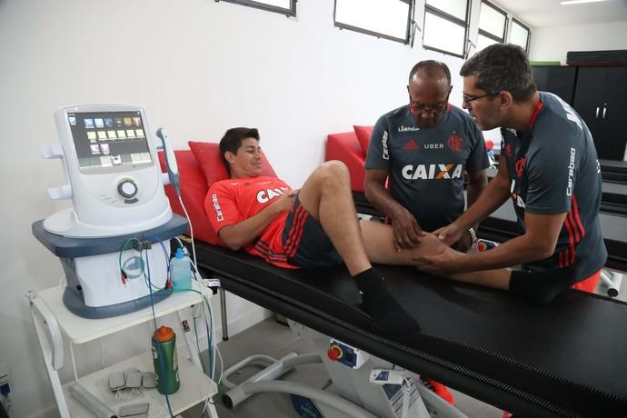 Conca fazendo tratamento no CT do Flamengo (Foto: Gilvan de Souza/Flamengo)