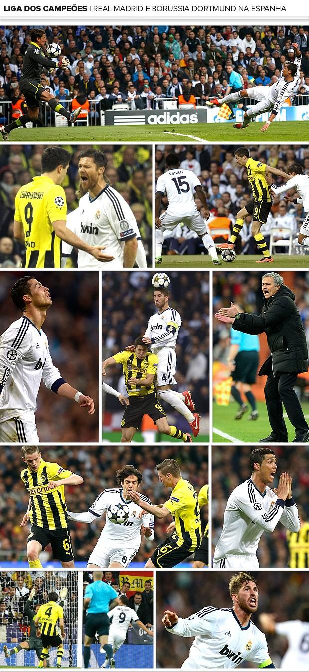 Mosaico jogo Real Madrid Borussia Dortmund (Foto: Editoria de Arte)