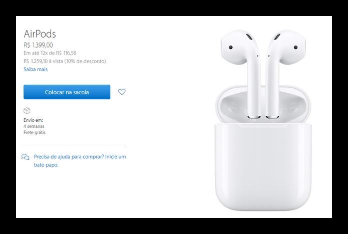 AirPods já estão à venda por R$ 1.399,00 na Apple Store