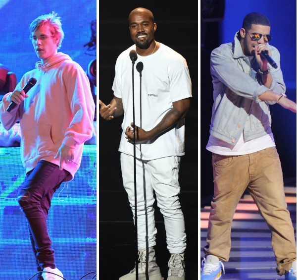 Justin Bieber, Kanye West e Drake (Foto: Getty Images)