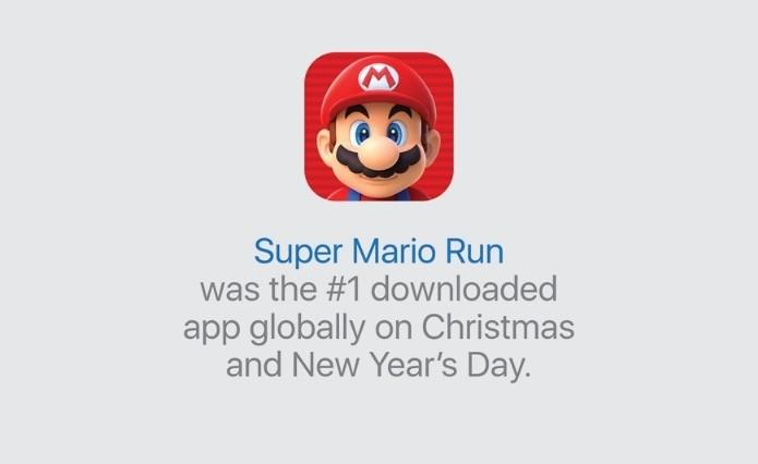 Super Mario Run é o app mais baixado no período de Natal e Ano Novo (Foto: Divulgação/Apple)