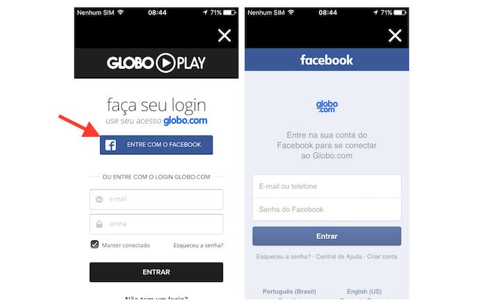 Realizando login no aplicativo Globo Play (Foto: Reprodução/Marvin Costa)