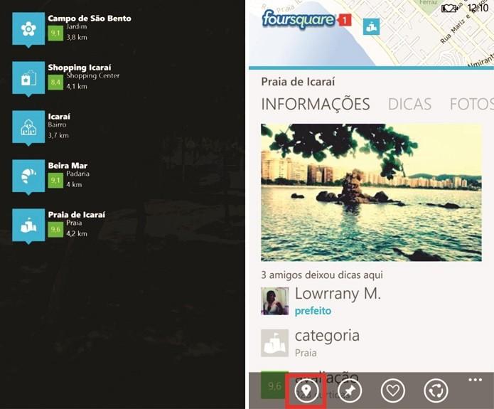 Foursquare para Windows Phone pode agrupar os locais exibidos na realidade aumentada (Foto: Reprodução/Elson de Souza)