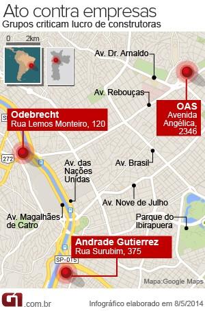 Ato contra construtoras em São Paulo (Foto: Arte/G1)