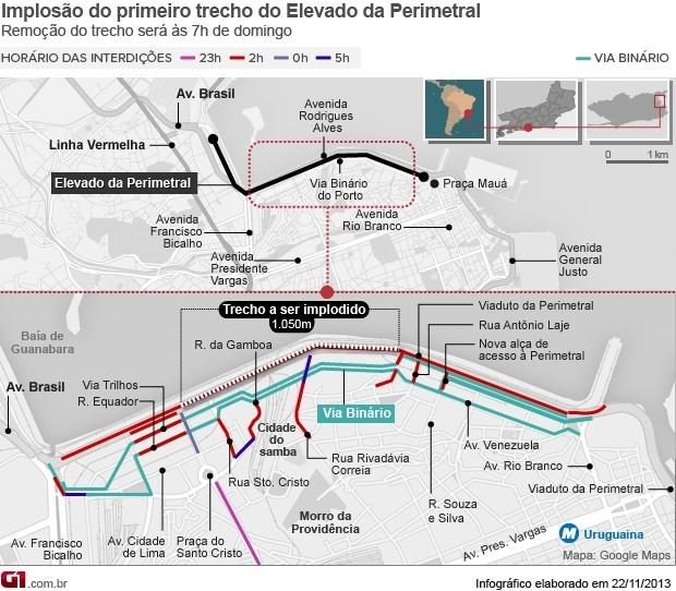 Mapa de interdições para implosão da Perimetral (Foto: Editoria de Arte/G1)