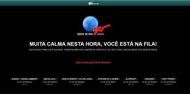 0bd2b68c3 Tela mostra fila para compra pela internet de ingressos do Rock in Rio  (Foto