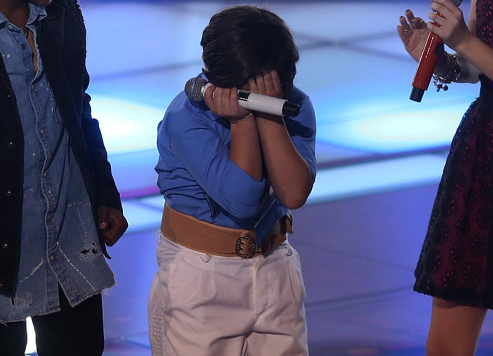 Thomas Machado se emociona com anúncio de campeão do 'The Voice Kids' (Foto: Isabella Pinheiro/Gshow)