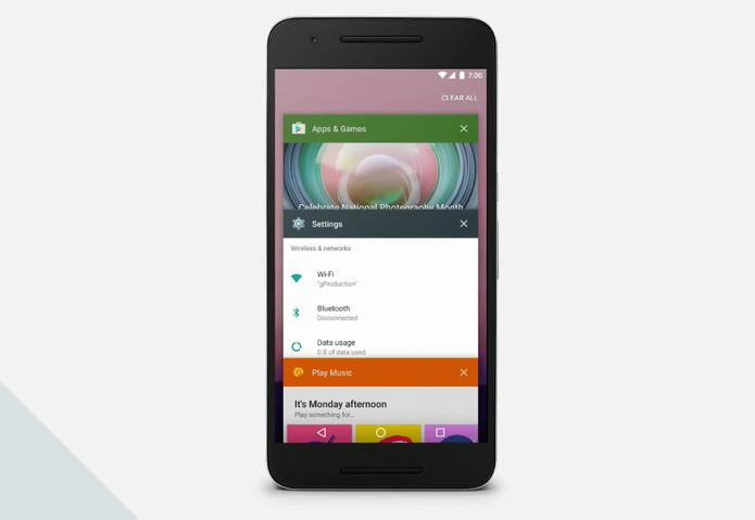 Google limpará o multitarefas do Android N para torná-lo mais intuitivo (Foto: Reprodução/Google)