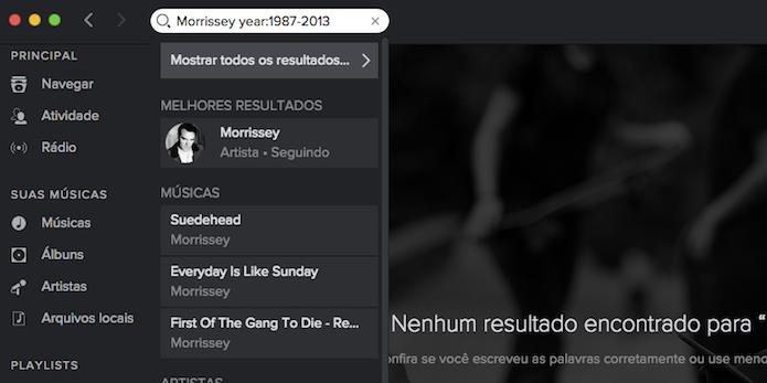 Pesquisando no Spotify músicas lançadas por um artistas durante um período específico (Foto: Reprodução/Marvin Costa)