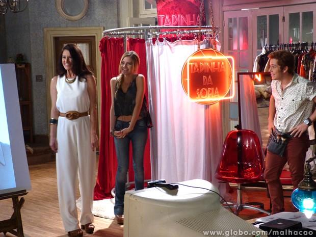 Uau! Sofia, Serguei e Flaviana transformaram a dona de casa em uma mulherão!