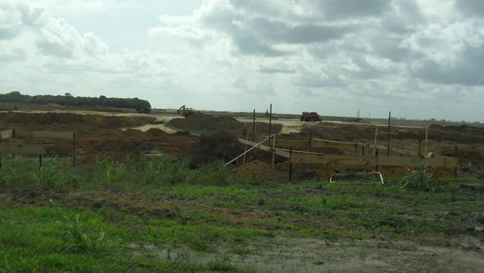 Guarita do Ninho do Galo começa a ser construída (Foto: Denison Roma / GloboEsporte.com)