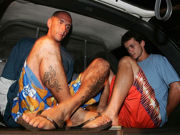 Os irmãos Cristian (esq.) e Daniel Cravinhos, em foto de 23 de janeiro de 2006 (Foto: Vidal Cavalcante/Estadão Conteúdo)