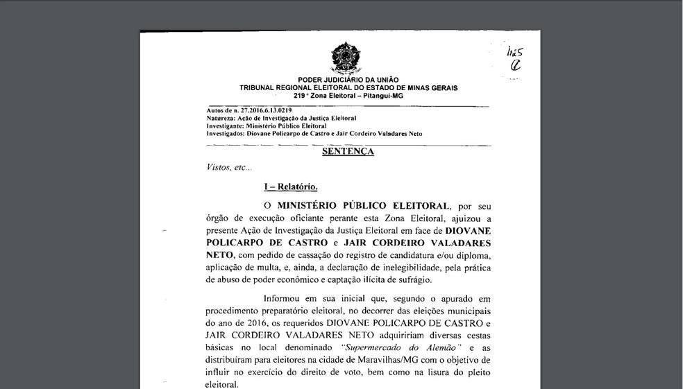 Primeira página da decisão que cassa mandatos de prefeito e vice (Foto: TRE/Reprodução)