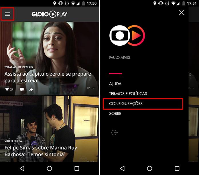 Abra o  menu lateral do Globo Play para Android e acesse as configurações (Foto: Reprodução/Paulo Alves)