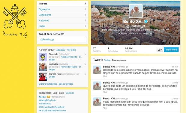 Reprodução da conta @pontifex, do Papa Bento XVI no Twitter, nesta quinta-feira (28) (Foto: Reprodução)