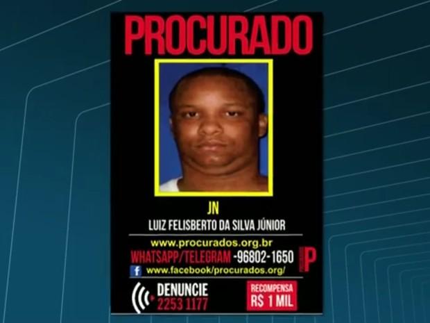 Luiz Felisberto, conhecido como JN, é um dos suspeitos de participar da disputa pelo tráfico no Morro do Turano (Foto: Reprodução/TV Globo)