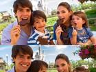 Carol Celico posta foto com Kaká e filhos na Disney