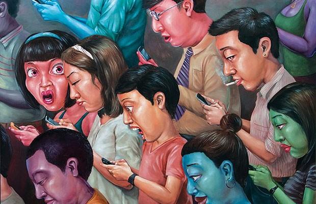 Anon Lulitananda utiliza cores fortes e formas com proporções exageradas para enfatizar a sátira à realidade, como na obra acima, 'IT Society' (Foto: Anon Lulitananda/ Divulgação Number 1 Gallery)