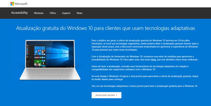 Novo Windows pode ser baixado e instalado por pessoas com necessidades especiais (Foto: Reprodução/Microsoft)