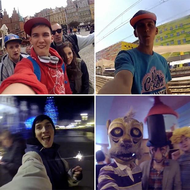 Jovem registrou 'selfies' durante 1 ano e meio de viagens pela Europa (Foto: Reprodução/YouTube/Proxi Pix)