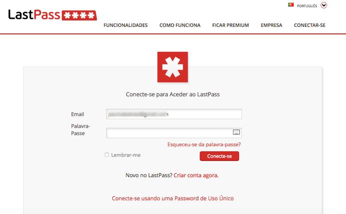 Faça login na sua conta do LastPass na web (Foto: Reprodução/Paulo Alves)