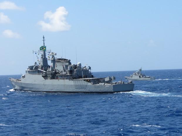 Navio da Marinha fez exercício no RN antes de seguir para Missão de Paz (Foto: Marinha do Brasil/Divulgação)