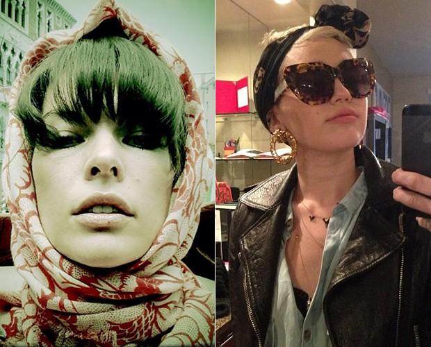 Moda lenços - Milla Jovovich e Miley Cyrus (Foto: Instagram e Twitter/Reprodução)
