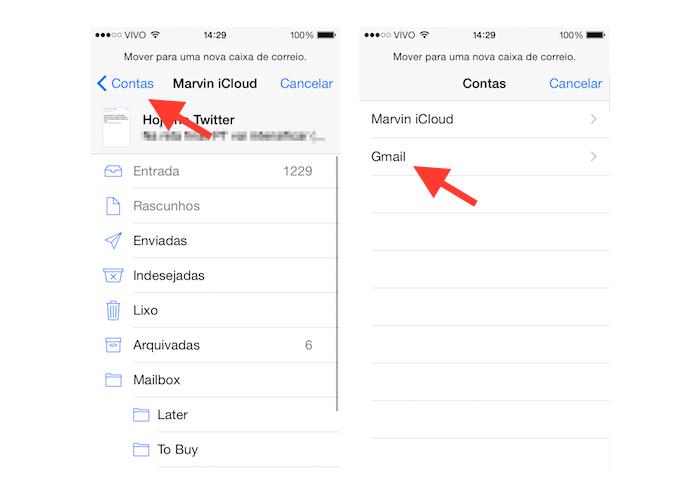 Determinando a conta para onde o e-mail será movido no Mail para iOS (Foto: Reprodução/Marvin Costa)