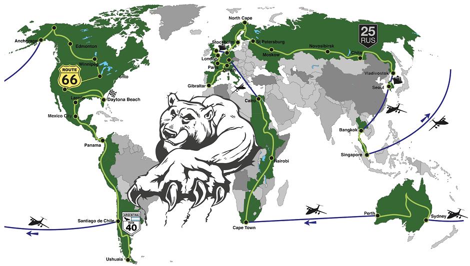 """Trajeto percorrido pelo motociclista Urs """"Grizzly"""" Pedraita em sua viagem pelo mundo (Foto: Grizzly Race Team)"""