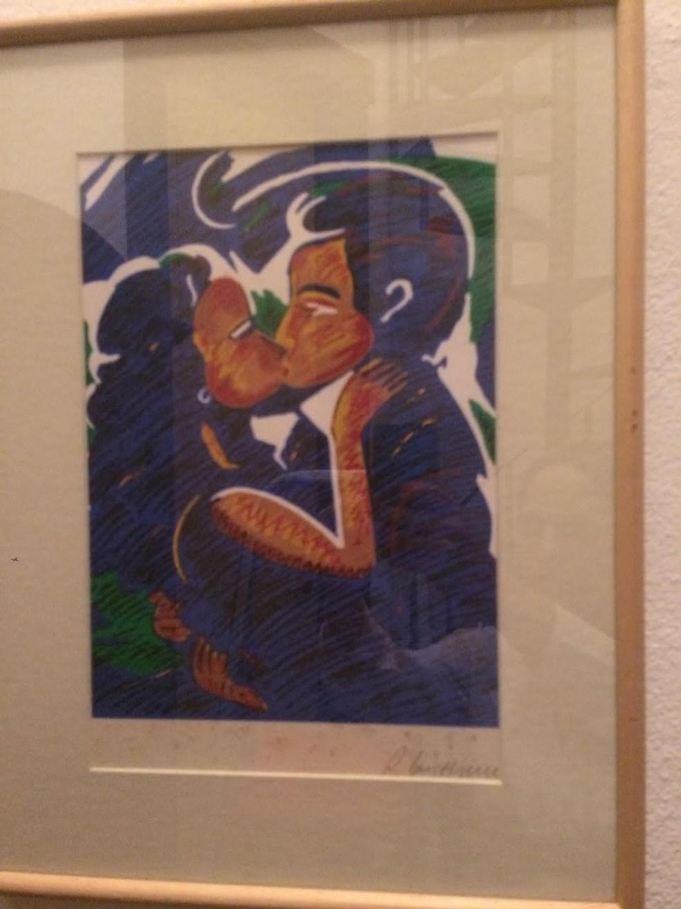 O quadro 'O Beijo', de Rubens Gerchman, foi apreendido pela PF na casa de Suzana Neves (Foto: Divulgação/MPF)