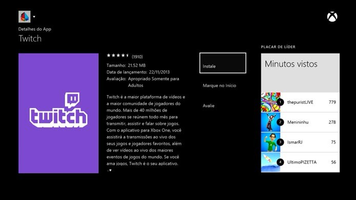 Compatibilidade com o app do Twitch também é novidade (Foto: Reprodução/Murilo Molina)