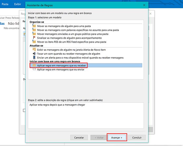 Selecione critério para criar regra no Outlook 2016 (Foto: Reprodução/Elson de Souza)