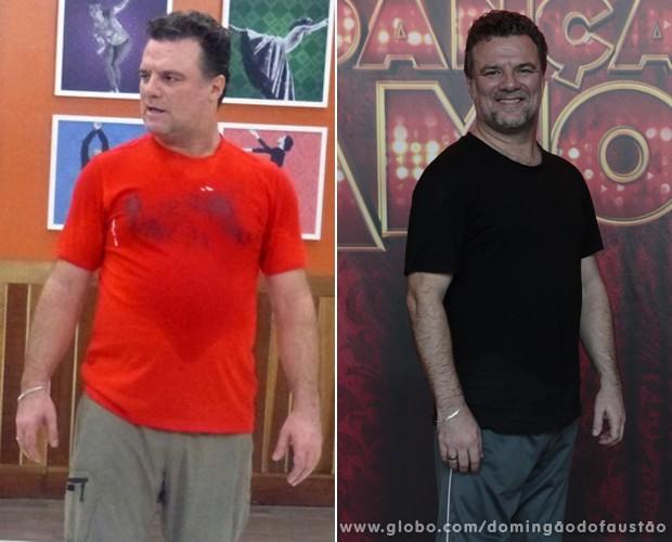 Adriano Garib perdeu 5kg e está com menos barriga e com o rosto mais fino (Foto: Domingão do Faustão / TV Globo)