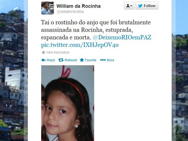 Ex-líder comunitário postou mensagem com foto de Rebeca no Twitter (Foto: Reprodução / Twitter)