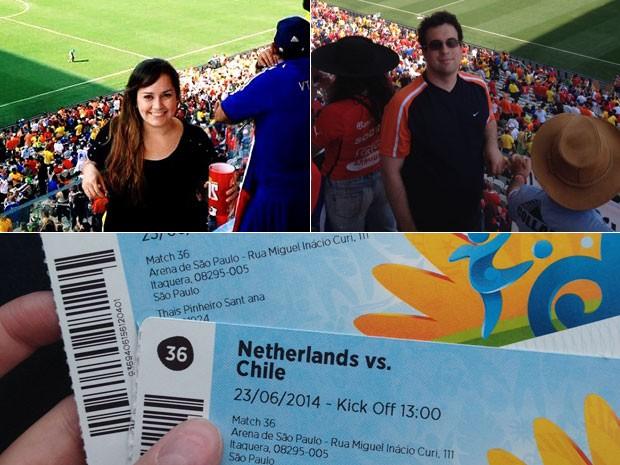 Thaís Graciano comprou ingressos para Holanda e Chile na madrugada do dia do jogo e repetiu a dose para Argentina x Suíça (Foto: Arquivo pessoal/Thaís Graciano)