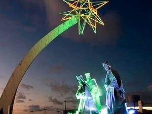 Natal ganhou monumento na estrada da cidade em homenagem aos três Reis Magos (Foto: Canindé Soares)