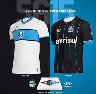 298c430ddf Grêmio lança novo uniforme preto com listras azuis e camisa comemorativa