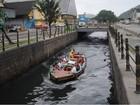 Trajeto das catraias é interditado para obras no canal do Mercado em Santos