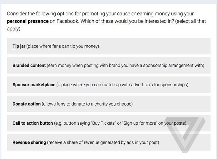 Pesquisa do Facebook quer saber melhor forma para remunerar usuários verificados (Foto: Reprodução/The Verge)