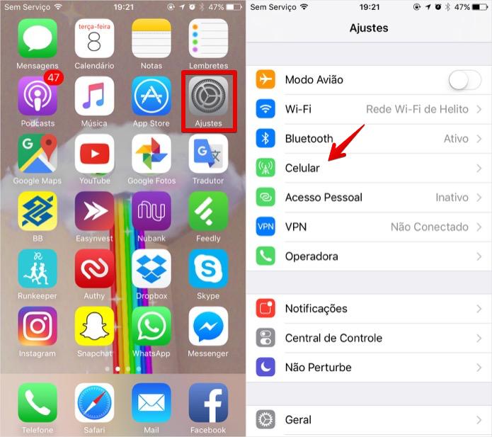 Acessando os ajustes do iPhone 7 (Foto: Reprodução/Helito Bijora)