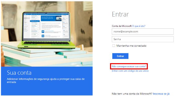 Recuperando senha de uma conta Microsoft (Foto: Reprodução/Helito Bijora)