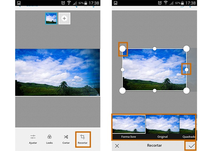 Faça recortes retangulares na foto pelo app (Foto: Reprodução/Barbara Mannara)
