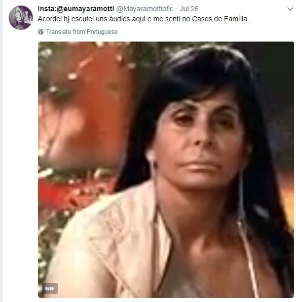 Mayara brincou com os áudios da mãe de Luiz Felipe (Foto: Reprodução Twitter)