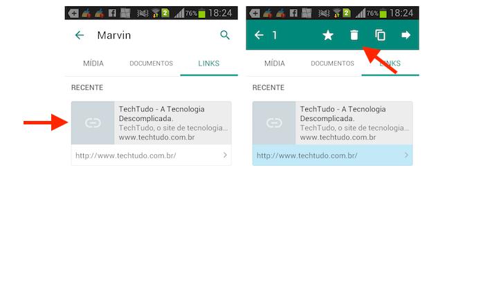 Selecionando links para apagar no WhatsApp para Android (Foto: Reprodução/Marvin Costa)