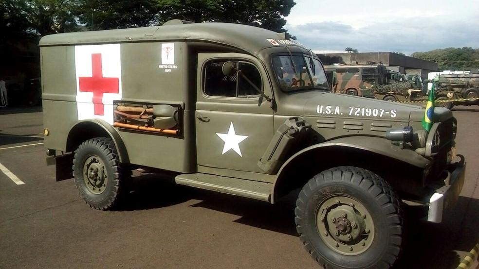 Viatura histórica do Exército é exposta na EsPCEx, em Campinas (Foto: Comunicação Social da EsPCEx)