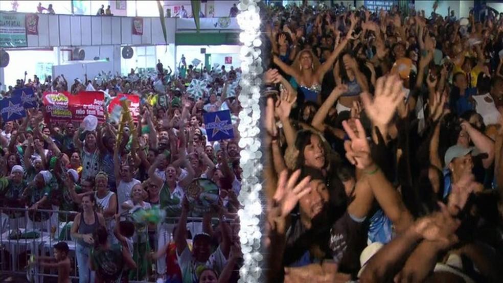 Mocidade e Portela disputaram nota a nota na apuração, que terminou com vitória da Portela após erro de jurado (Foto: Reprodução/TV Globo)